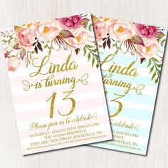 birthday invitation, Twenty first birthday party, Floral birthday invitation, Pink Turquoise st Birthday Invitation Background, Teen Birthday Invitations, Pink Invitations, Twenty First Birthday, 10th Birthday, First Birthday Parties, First Birthdays, Pink Turquoise, Floral