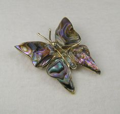 Iridescent Abalone 800 Silver Butterfly Brooch  Mexico