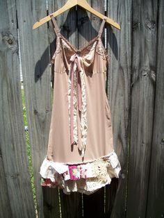 Upcycle-Recycle-Eco Friendly-Boho-Woodland-Tattered-Rustic-Sundress-Slip Dress. $72.99, via Etsy.