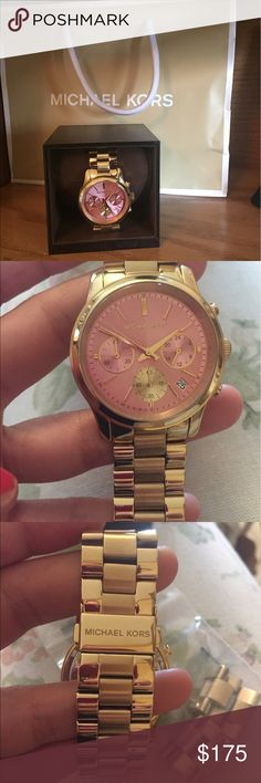 Michael Khors watch gold and pink Beautiful Michael Khors gold and pink watch. Only worn a few times. Comes with box & in great condition! Also has extra pieces for sizing. KORS Michael Kors Accessories Watches