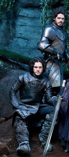 Kit Harington as Jon Snow and Richard Madden as Robb Stark