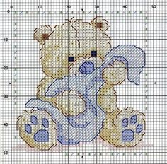 Teddy Bear and Blankie Free Cross Stitch Chart Pattern Needlepoint
