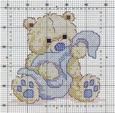 Teddy Bear and Blankie Free Cross Stitch Chart Pattern Needlepoint