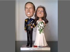 I love bobble heads. Wedding Doll, Prince And Princess, Wedding Programs, Bobble Head, Elizabeth Ii, Royalty, Marriage, Celebrities, Image
