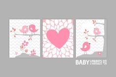 Baby Girl Nursery art Set of 3 8x10.