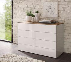Kommode weiß Hochglanz / Eiche natur Tambio14 - Designermöbel - moderne Möbel | owl-moebelhandel.de