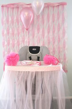 highchair tutu for baby's first birthday.