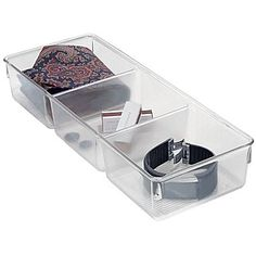 Grab a Linus Storage Bin for quick and easy organizing of dresser drawers. Bins are made of durable clear plastic with non-skid feet that help keep them from sliding around. Mix and match different sizes to create a custom storage solution. Dresser Drawer Organization, Drawer Dividers, Drawer Organisers, Storage Organizers, Plastic Dresser, Mystery, Vanity Drawers, Bedroom Drawers, Storage Baskets
