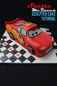 Creative cakes of Saru - decorated cakes: Lightning McQueen cake carved} {+ tutorial Lightning Mcqueen Cake, Lightening Mcqueen, Cars Birthday Parties, 1st Boy Birthday, Birthday Cakes, Cake Decorating Tutorials, Cookie Decorating, Gateau Flash Mcqueen, Steve Mcqueen Cars