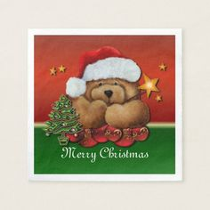 Shop Cute Santa Bear Christmas Napkins created by BlueRose_Design. Paper Napkins, Paper Plates, Christmas Napkins, Holiday Outfits, Holiday Treats, Colorful Backgrounds, Party Supplies, Merry Christmas, Santa
