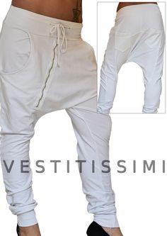 Pantalone donna sportivo stile harem con cavallo basso e zip obliqua