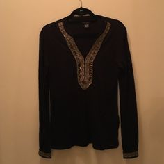 Lucky Brand Gold Beaded Long Sleeve Shirt How cute is this shirt? Dressing this up with some gold earrings >>>  Lucky Brand Tops