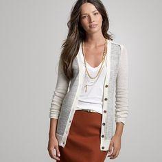 long cardigan w/orange skirt
