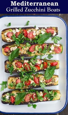 stuffed zucchini boats recipe in less than 20 minutes! Tender grilled zucchini loaded with Mediterranean favorites like tomato, feta, and fresh herbs. Bright, healthy, and a great low carb appetizer or side! Recipe from Grilled Zucchini Boats, Zucchini Boat Recipes, Vegetable Recipes, Vegetarian Recipes, Cooking Recipes, Healthy Recipes, Vegetarian Italian, Stuffed Zucchini Boats, Stuffed Zucchini Recipes