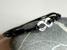 Personalized Infinity Bracelet - Leather with CUSTOM Initials or numbers on Aluminium wire - Mens and Unisex - made to order