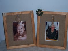 Burlap Photo frames.