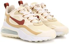 """These """"team gold and cinnamon"""" Air Max 270 React sneakers are a fusion of two of Nike's signature styles. Crafted from mesh with soft suede overlays, they're accented with the iconic Swoosh in burgundy grained leather, then . Cute Sneakers, Leather Sneakers, Shoes Sneakers, Crazy Shoes, Me Too Shoes, Nike Air Shoes, Aesthetic Shoes, Hype Shoes, Fresh Shoes"""