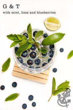 Gin & Tonic with Mint, Lime, and Blueberries