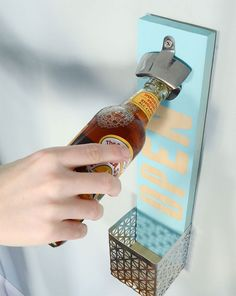 Use this tutorial to DIY a wall-mounted bottle opener so he never has to worry about that again.