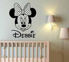 Wall Decal Name Personalized Custom Decals Minnie Mouse Vinyl Sticker Home Decor Nursery Girl Baby Room Kids Stickers Children's Decor Art Mural SM75 >>> You can find out more details at the link of the image-affiliate link. #WallStickersMurals