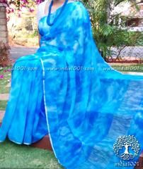 Elegant, Feather Light & Thin ChiffonSaree withMarbling Patterns Comes with a blouse piece in semi silk Very elegant for both...