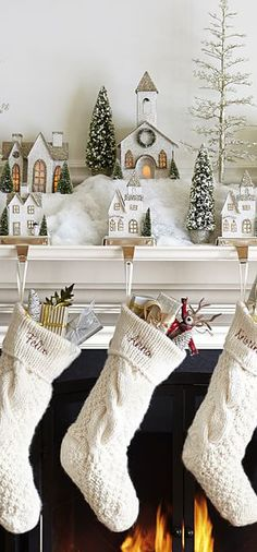 Glitter Village Houses & Stockings #christmas #decorating