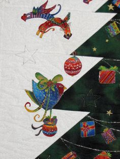 """close up, """"A tree for Laurels Christmas cats"""" wall quilt by Eugenie (The Netherlands).  Inspired by Laurel Burch fabrics."""