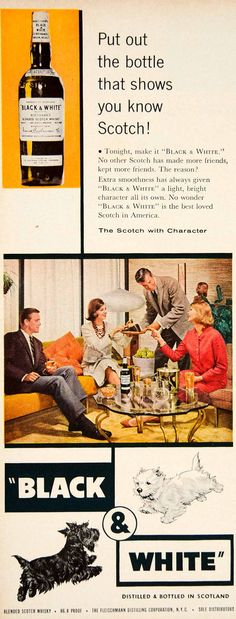 Black & White Scotch Whisky ad 1961