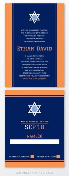 Elegant and modern bar mitzvah invitation in orange and navy blue with white Star of David. Minimal design for boys