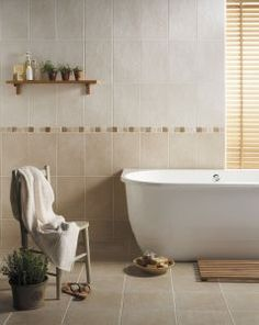 Beige bathroom tiles: freestanding bathtub design plus small wall shelf also comfortable chair idea and mesmerizing beige bathroom tile Beige Tile Bathroom, Natural Bathroom, Yellow Bathrooms, Bathroom Floor Tiles, Bathroom Colors, Bathroom Ideas, Wall Tiles, Shower Floor, Bathroom Wall