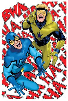 Blue Beetle and Booster Gold looking up your skirt. Art by Kevin Maguire.