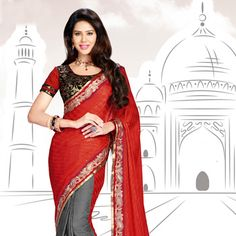 Red and Grey Faux Georgette Jacquard