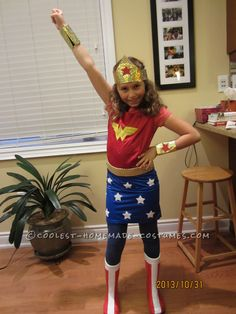 Cool Homemade Wonder Woman Costume for Girls... Coolest Halloween Costume Contest