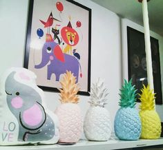 Pineapple lights, posters,cushions... One of our favourite parts in the shop! / lámparas de piña, láminas, cojines... Una de nuestros rincones favoritos de la tienda