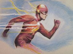 "Drawing of Grant Gustin as Barry Allen aka Flash in ""The Flash"" CW Serie Comics Draw dessin sketch artwork pencils pastel"