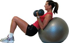 10 Great Biceps Exercises: Incline Bicep Curls on the Ball