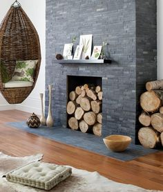 Split Face Mosaic Black Slate Tile - For inside the fireplace, behind the log burner. Modern Fireplace Tiles, Slate Fireplace Surround, Painted Brick Fireplaces, Fireplace Surrounds, Rustic Fireplaces, New Living Room, Living Room Modern, Living Area, Slate Wall Tiles