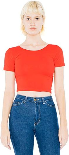 03ad1038f33c5 Amazon.com  American Apparel Women s Cotton Spandex Jersey Crop Tee Size S  Red  Clothing