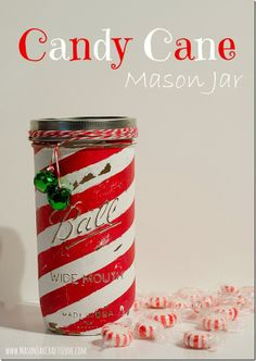 Candy Cane Mason Jar - fill with candy for gift