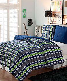 Another great find on #zulily! Navy & Green Juniper Comforter Set #zulilyfinds