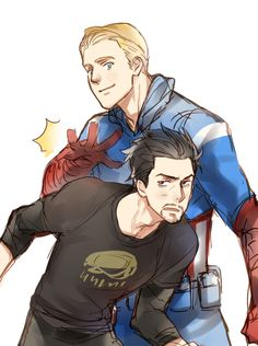 be careful with your back by kankung, captain america and tony stark Superfamily Avengers, Stony Avengers, Stony Superfamily, Spideypool, Marvel Art, Marvel Avengers, Marvel Comics, Tony Stark, Yin Yang