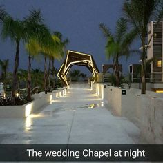 """The @royaltonrivieracancunofficial wedding Chapel is lit up lovely at night. Imagine the sunset just before hand. I wonder if they do a vow renewal…"""