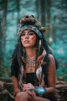 Futuristic indian woman portrait outdoors. Background blue wild forest ~ People Photos ~ Creative Market