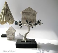 Lustik — Book Sculptures and Paper Art - Malena Valcárcel. Quentin Blake, Paper Art, Paper Crafts, Art Crafts, Book Sculpture, Paper Sculptures, Collage Book, Altered Book Art, Recycled Books