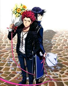 Tags: Official Art, K Project, Suoh Mikoto, Munakata Reisi, GoHands