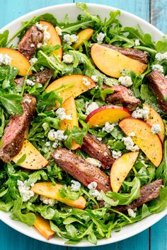Balsamic grilled steak salad with peaches. balsamic grilled steak salad with peaches salad recipes for dinner Arugula Salad Recipes, Salad Recipes For Dinner, Summer Salad Recipes, Dinner Salads, Healthy Recipes, Healthy Salad Recipes, Dinner Healthy, Dinner Dishes, Healthy Dinners