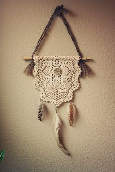 poesy a neutral bohemian feathered doily by RootsandFeathers