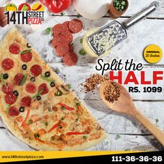 Can't choose between your favorite flavors? Our Split the Half option allows you to have two awesome flavors of your choice in one Half of 20 Incher Pizza. ‪#‎14thStreetPizza‬ ‪#‎OriginallyYours‬ ‪#‎NewLook‬  Call Now 111-36-36-36 or Visit www.14thstreetpizza.com