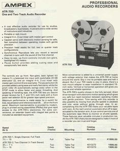 1975 info sheet on the Ampex ATR700 in Reel2ReelTexas.com's vintage recording collection