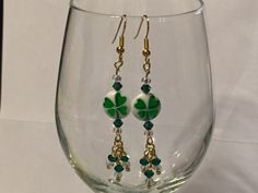 Just finished; Shamrock earrings.